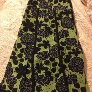 Black & Green Floral A-Line Skirt